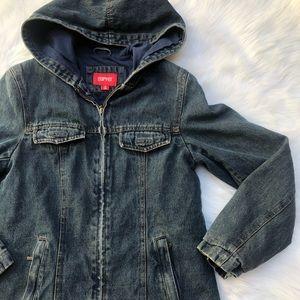 Vintage Esprit 90's grunge jean denim jacket hood